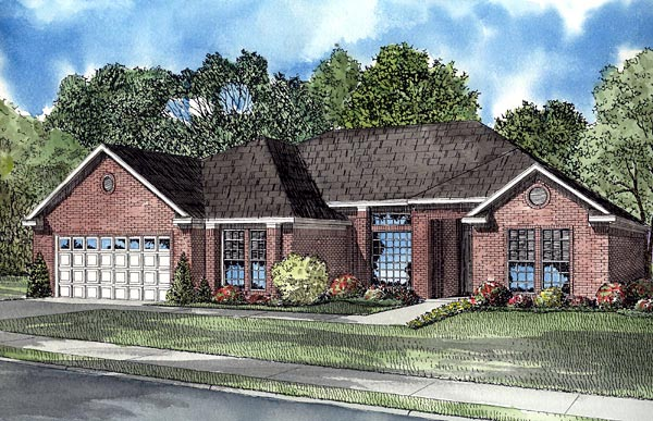 Contemporary, One-Story House Plan 61253 with 3 Beds, 2 Baths, 2 Car Garage Elevation
