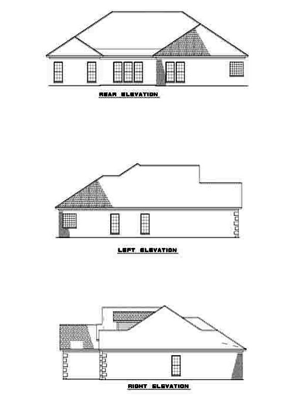 Contemporary House Plan 61254 with 4 Beds, 2 Baths, 2 Car Garage Rear Elevation