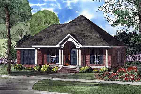 Colonial, European House Plan 61255 with 3 Beds, 2 Baths, 2 Car Garage Elevation