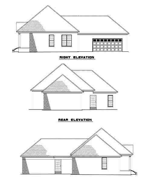 Colonial, European House Plan 61255 with 3 Beds, 2 Baths, 2 Car Garage Rear Elevation