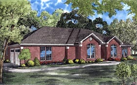 Contemporary , European , Ranch House Plan 61256 with 4 Beds, 2 Baths, 2 Car Garage Elevation