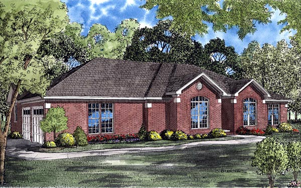 Contemporary, European, Ranch House Plan 61256 with 4 Beds, 2 Baths, 2 Car Garage Elevation