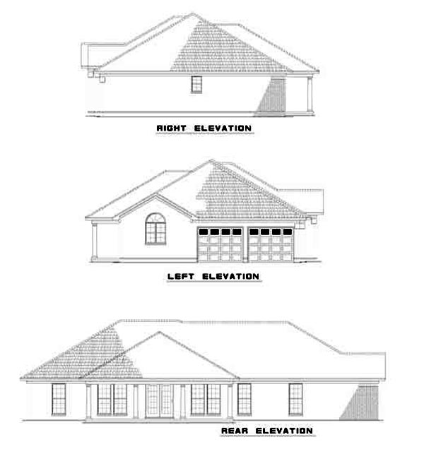 Contemporary, European, Ranch House Plan 61256 with 4 Beds, 2 Baths, 2 Car Garage Rear Elevation