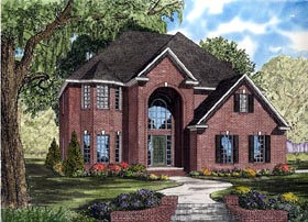 European House Plan 61257 with 3 Beds, 3 Baths, 2 Car Garage Elevation