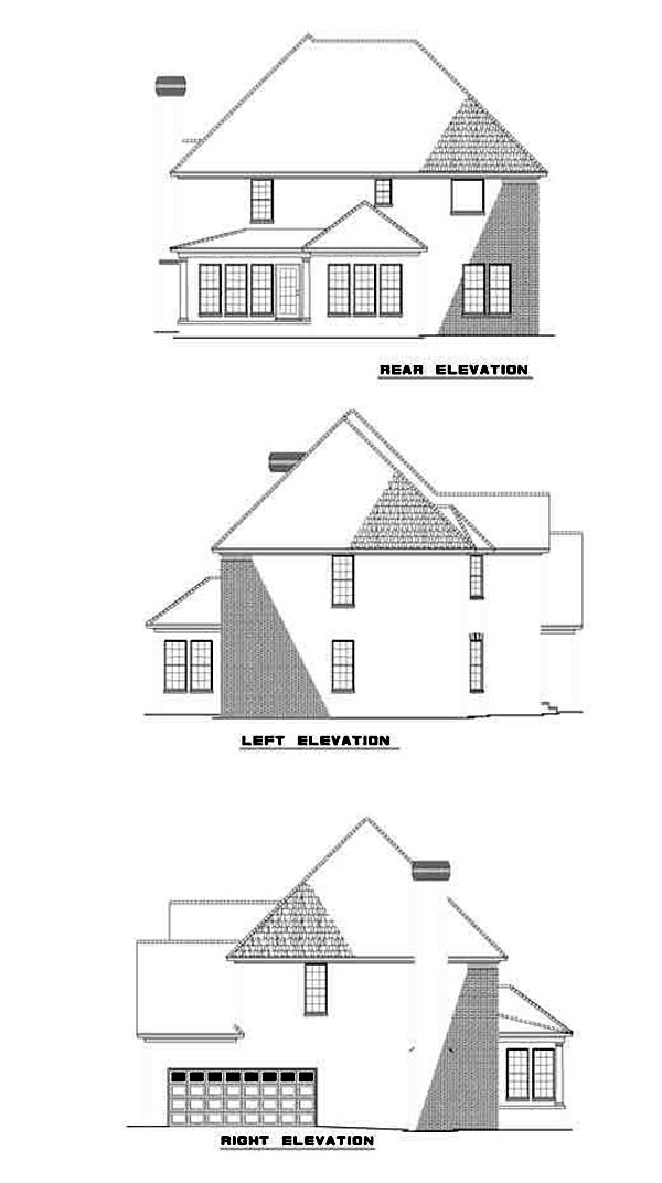 European , Rear Elevation of Plan 61257