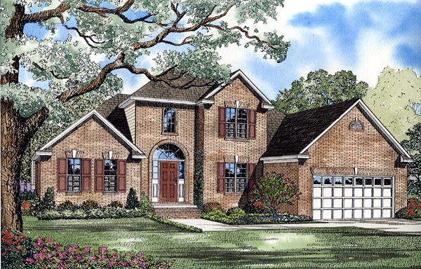 European House Plan 61258 with 3 Beds, 3 Baths, 2 Car Garage Elevation