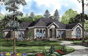 European House Plan 61260 with 4 Beds, 3 Baths, 3 Car Garage Elevation