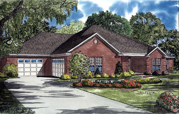 Traditional House Plan 61261 with 4 Beds, 2 Baths, 2 Car Garage Elevation