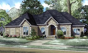European House Plan 61262 with 4 Beds, 4 Baths, 3 Car Garage Elevation