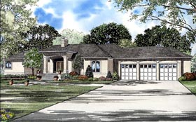 House Plan 61264 | European Style Plan with 3289 Sq Ft, 3 Bedrooms, 3 Bathrooms, 2 Car Garage Elevation