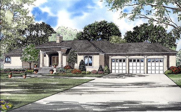 European, One-Story House Plan 61264 with 3 Beds, 3 Baths, 2 Car Garage Elevation
