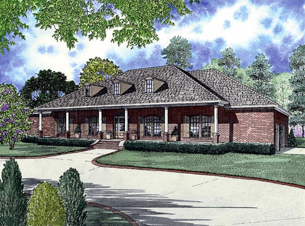 Colonial , European House Plan 61265 with 4 Beds, 3 Baths, 3 Car Garage Elevation