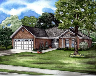 One-Story, Ranch House Plan 61266 with 3 Beds , 2 Baths , 2 Car Garage Elevation