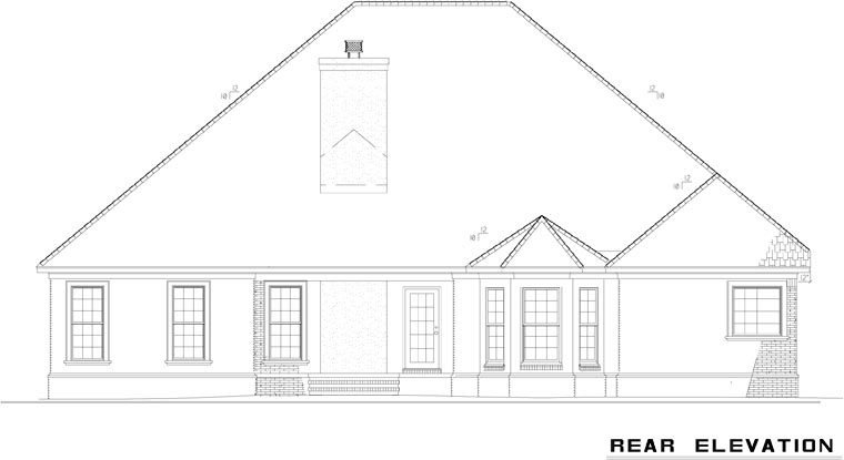 European House Plan 61269 Rear Elevation