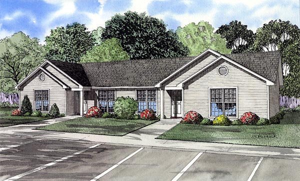 Ranch Multi-Family Plan 61274 Elevation