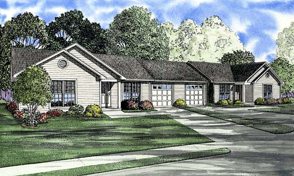 One-Story Ranch Elevation of Plan 61275