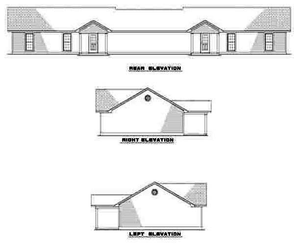 One-Story Ranch Rear Elevation of Plan 61275