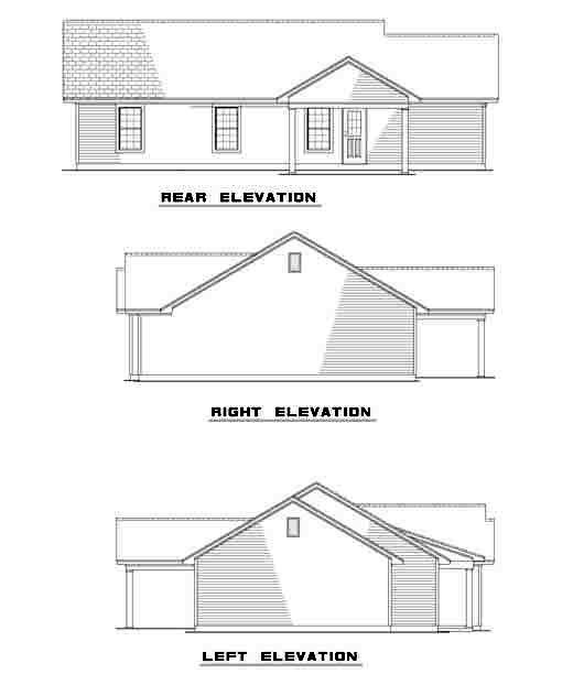 Ranch , Rear Elevation of Plan 61276