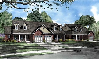 Colonial, One-Story Multi-Family Plan 61277 with 6 Beds, 6 Baths, 3 Car Garage Front Elevation