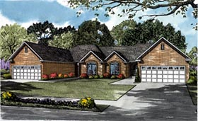 Traditional Multi-Family Plan 61279 with 4 Beds, 4 Baths, 4 Car Garage Elevation