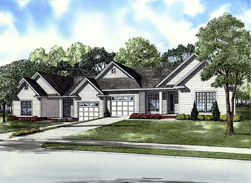 Traditional Multi-Family Plan 61280 Elevation