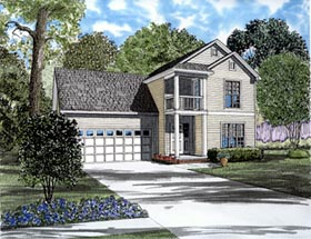 House Plan 61283 | Colonial Style Plan with 1283 Sq Ft, 3 Bedrooms, 3 Bathrooms, 2 Car Garage Elevation