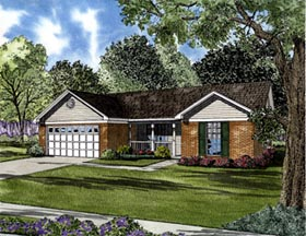 Colonial House Plan 61284 with 3 Beds, 2 Baths, 2 Car Garage Elevation