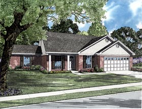 House Plan 61287 | Colonial Style Plan with 1271 Sq Ft, 4 Bedrooms, 2 Bathrooms, 2 Car Garage Elevation