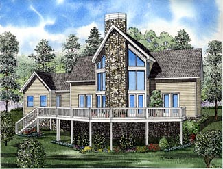 A-Frame Coastal Contemporary Elevation of Plan 61290