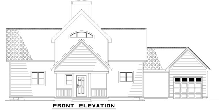 A-Frame Coastal Contemporary Rear Elevation of Plan 61290