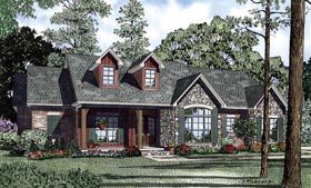 House Plan 61297 | Country Craftsman Ranch Traditional Style Plan with 1960 Sq Ft, 3 Bedrooms, 3 Bathrooms, 2 Car Garage Elevation