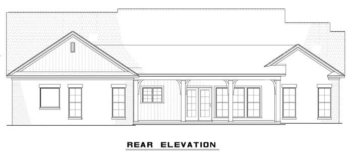 Country , Craftsman , Ranch , Traditional House Plan 61297 with 3 Beds, 3 Baths, 2 Car Garage Rear Elevation