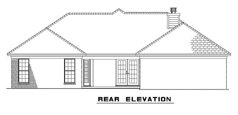 European House Plan 61298 Rear Elevation