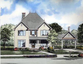 Victorian House Plan 61302 with 4 Beds, 4 Baths, 2 Car Garage Elevation