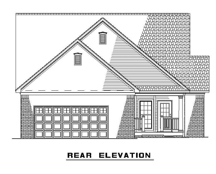 One-Story, Southern House Plan 61304 with 3 Beds, 2 Baths, 2 Car Garage Rear Elevation