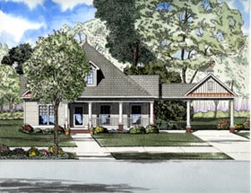 Southern House Plan 61306 with 3 Beds, 2 Baths, 2 Car Garage Elevation