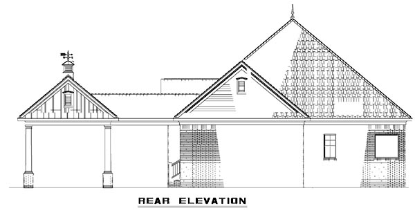 One-Story Southern Rear Elevation of Plan 61306