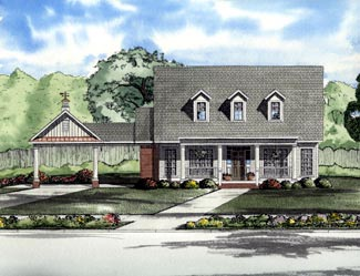 Cape Cod, One-Story House Plan 61310 with 3 Beds, 2 Baths, 2 Car Garage Elevation