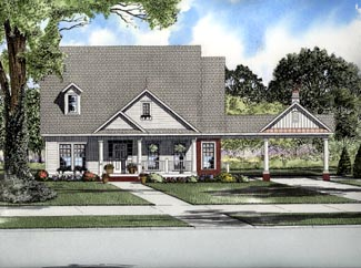 Cape Cod One-Story Elevation of Plan 61311