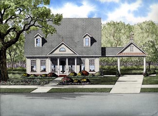 Cape Cod House Plan 61314 with 3 Beds , 3 Baths , 2 Car Garage Elevation