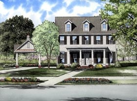 Colonial House Plan 61315 with 3 Beds, 3 Baths, 2 Car Garage Elevation