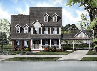 Colonial House Plan 61317 with 4 Beds, 3 Baths, 2 Car Garage Elevation