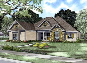 Craftsman , European , Tudor House Plan 61321 with 4 Beds, 3 Baths, 3 Car Garage Elevation