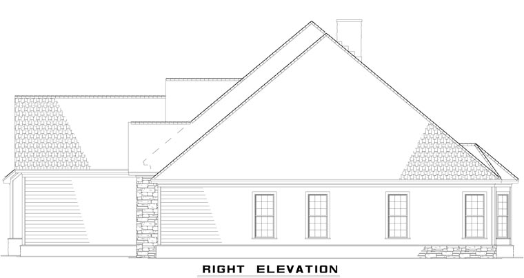 Craftsman, European, Tudor House Plan 61321 with 4 Beds, 3 Baths, 3 Car Garage Picture 2