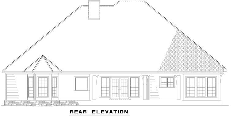 Craftsman European Tudor Rear Elevation of Plan 61321