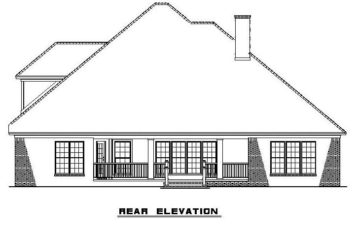 Traditional House Plan 61322 Rear Elevation