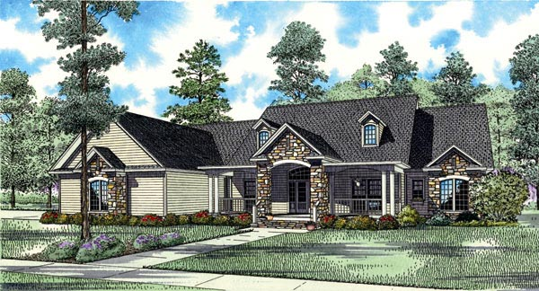 Country Craftsman Traditional House Plan 61323 Elevation