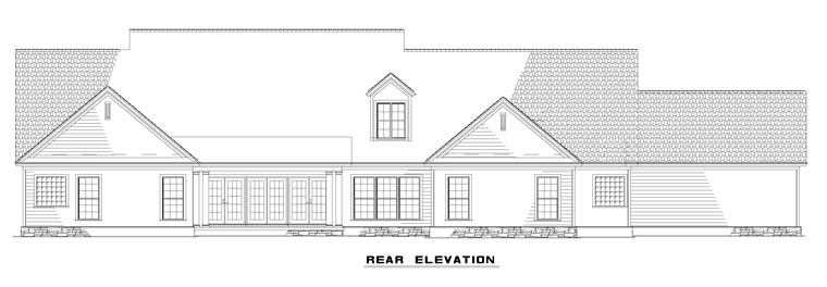 Country Craftsman Traditional House Plan 61323 Rear Elevation