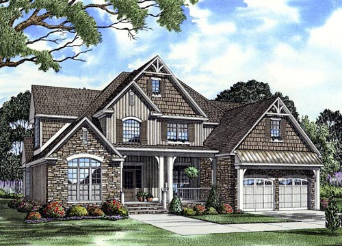 Cottage Craftsman Farmhouse House Plan 61325 Elevation