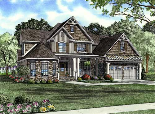 House Plan 61328 | Country Craftsman Victorian Style Plan with 2815 Sq Ft, 4 Bedrooms, 3 Bathrooms, 2 Car Garage Elevation
